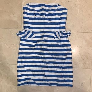 Blue and white striped strapless dress